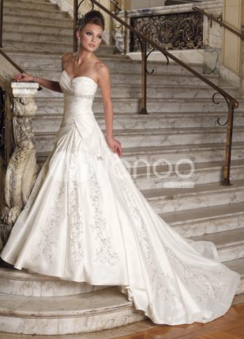 satin sweetheart floor length celebrity wedding dresses at